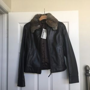 Sisley NET leather jacket